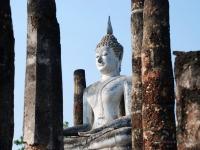Buddha - Statua rimasta ben conservata fra le rovine di Sukothai al tempio Wat Mahathat (Thailandia)